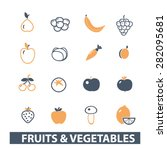 fruits  vegetables icons  signs ... | Shutterstock .eps vector #282095681
