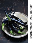 hot peppers black | Shutterstock . vector #282100739