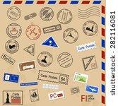 set of various post seals ... | Shutterstock .eps vector #282116081