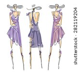 sketch fashion poses | Shutterstock .eps vector #282119204