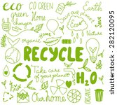 set of hand drawn eco friendly... | Shutterstock .eps vector #282120095