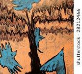 Abstract Birds Near Tree