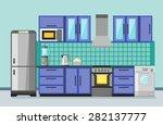 kitchen interior with... | Shutterstock .eps vector #282137777
