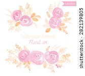 a set of watercolor roses... | Shutterstock .eps vector #282139805