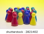 Colorful pawns - stock photo