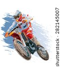 motocross rider on a motorcycle ... | Shutterstock .eps vector #282145007