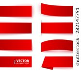 set of red paper ribbon banners ... | Shutterstock .eps vector #282147791