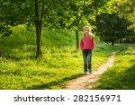 happy little girl go to school... | Shutterstock . vector #282156971