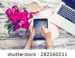 bouquet of roses  cup of coffee ... | Shutterstock . vector #282160211