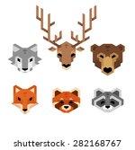 stylized geometric animal heads ...