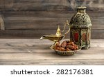 ramadan lamp and dates on... | Shutterstock . vector #282176381