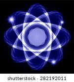 dark blue shining atom scheme....   Shutterstock .eps vector #282192011