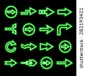 modern fluorescent green arrows ...