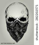 skull and bandana doodle vector | Shutterstock .eps vector #282202571