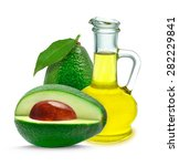Avocado Oil Isolated On A Whit...