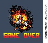 space ship on fire pixel game... | Shutterstock .eps vector #282240314