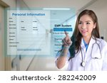 female doctor using electronic... | Shutterstock . vector #282242009
