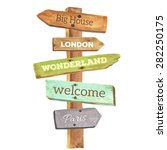 watercolor wooden signpost.... | Shutterstock .eps vector #282250175