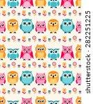 seamless owls cartoon...   Shutterstock .eps vector #282251225