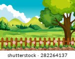 scene of the garden with field... | Shutterstock .eps vector #282264137