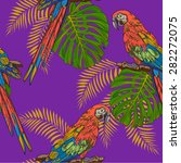 lilac pattern parrots | Shutterstock .eps vector #282272075