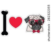 I Love Hipster Pug With Glasse...
