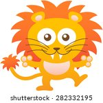 cute yellow lion with bulging... | Shutterstock .eps vector #282332195