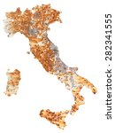 Small photo of Graphic and conceptual representation of the Italy rusty, adrift.