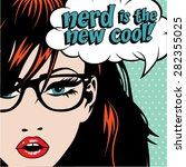 pop art woman with glasses  ... | Shutterstock .eps vector #282355025