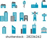 Vector icons pack - Blue Series, city collection - stock vector