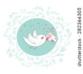 bird with love letter | Shutterstock .eps vector #282366305