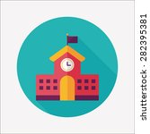 school building flat icon with... | Shutterstock . vector #282395381