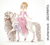 cute princess on a white horse... | Shutterstock .eps vector #282398951