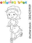 small cute girl riding a... | Shutterstock .eps vector #282425909