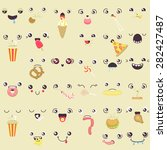 Set Of Cute Vector Faces Eating ...