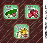 colorful labels with vegetables ...   Shutterstock .eps vector #282428594