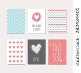set of cute creative cards with ... | Shutterstock .eps vector #282434405