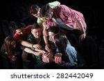 merry company in the cinema ... | Shutterstock . vector #282442049