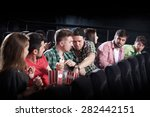 merry company in the cinema ... | Shutterstock . vector #282442151
