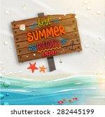 ocean and beach sand. wooden... | Shutterstock .eps vector #282445199