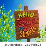 wooden plaque. summer sky  tree ... | Shutterstock .eps vector #282445625