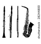 Woodwind musical instruments set in detailed vector silhouette - stock vector