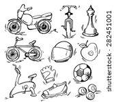 set of sport icon. pen sketch... | Shutterstock .eps vector #282451001