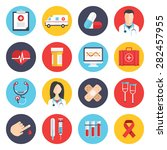 flat icons set of medical tools ... | Shutterstock .eps vector #282457955