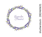 watercolor wreath of lavender... | Shutterstock . vector #282460631