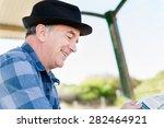 senior gentleman reading...   Shutterstock . vector #282464921
