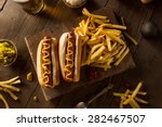 Stock photo barbecue grilled hot dog with yellow mustard 282467507