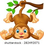 Cartoon Cute Monkey Hanging On...