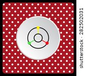 white polka dots on a red gps...