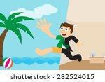 happy businessman going to... | Shutterstock .eps vector #282524015